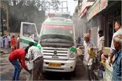 fire in 108 ambulance big incident defers by sensible of driver