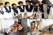 11th standard girl make a shoe which will hit the motions