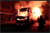 a sudden fire in a bus filled with fire smoke and smoke