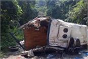 bus falls in ditch in andhra pradesh seven devotees died
