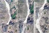 look at the photos the flood of glacier in samra nala of chamba