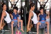shilpa shetty post a video with her son vian workout