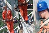 chinese workers sleep on steel bars 160ft above ground