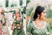 this bride wore a green sabyasachi lehenga for her wedding in mexico