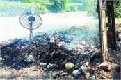 sadhu set fire to the hut to protest against illegal occupation