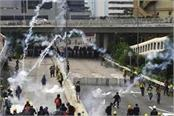 hong kong police release tear gas shells as protests take violent forms