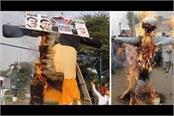 farmers of three states burnt modi s 20 feet tall effigy on dussehra