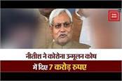 nitish gave seven crores in corona eradication fund