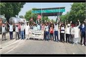 protest against managers on behalf of sacked toll plaza workers