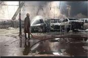 six cars burnt down in agra in a workshop
