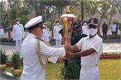 martyrs memorial of northern command at udhampur reached golden victory torch