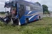 road accident in etawah bus full of passengers collides with truck 2 killed