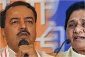 in gestures keshav maurya took a jibe at mayawati saying  only those