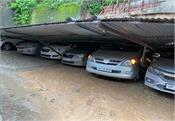 rain wreaks havoc in mandi riot fell on the roof of the parking shed