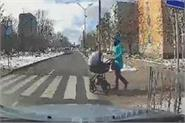 pram with baby inside flying hit by speeding car