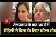 daughter of lalu yadav rohini wrote a letter to the president