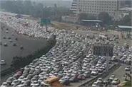 bharat bandh heavy traffic on delhi gurugram border