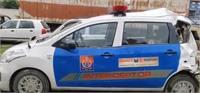 वोल्वो बस ने पुलिस पेट्रोलियम गाड़ी को मारी टक्कर, ट्रैफिक इंस्पेक्टर सहित 3 पुलिसकर्मी घायल