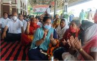कुरुक्षेत्र: निजीकरण के विरोध में रेलवे कर्मचारियों का धरना, चक्का जाम की दी चेतावनी