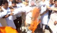 हिसार में भाजपा ने अमरिंदर व राहुल गांधी का फूंका पुतला