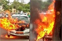 fire in ola cab in jabalpur