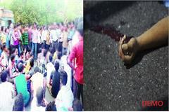 bike driver dead in a road accident angry people put the jam