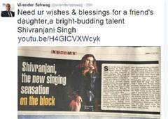 shivranjani singh singer virender sehwag tweet