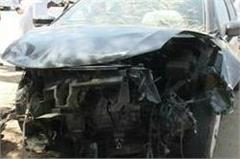 the speeding car with the wall collided with