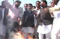 hooda supporters burnt effigy of tanwar