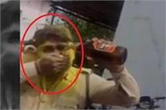 policemen drinking beer inside police station in madhya pradesh