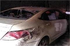 a terrible fire in a car parked in the garage