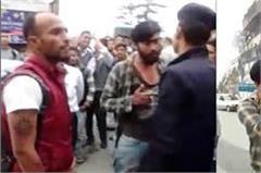 drunker s bike stunt in shimla prevented then caught from collar to policeman