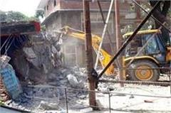 jcb run on illegal occupation  influenced cry to see break the shop