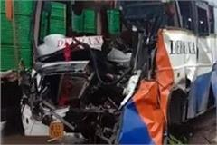 bus collides with a truck injures over a dozen passengers