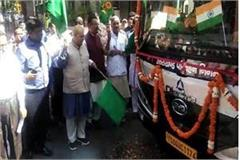 the first electric bus running from dehradun to mussoorie was flagged by cm