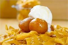 gulab jamun with honey noodles and vanilla ice cream