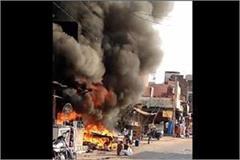 fire in cylinder shop rohtak haryana