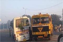 the two wheels left by moving bus in fatehabad