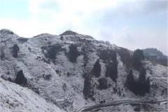 the first snowfall of season in dalhousie tourist point dainkund peak