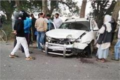 two cars in collision death on the spot of bjp leader