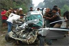 speeding car collides with an unidentified vehicle