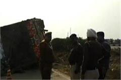 a truck full of alcohol packed on karnal highway