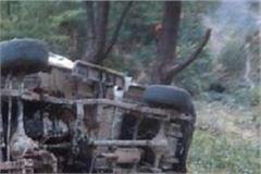 jeep lying in the ditch of 250 feet deep