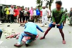 panchayat head s son beating the dalit