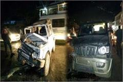 accident between gpsy and scorpio 6 injured