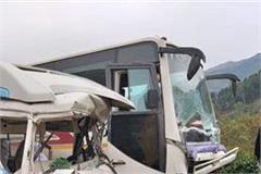 collision between tourist bus and tempo traveler death of youth