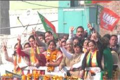 karnal mayor renu bala gupta did rally for thanking public
