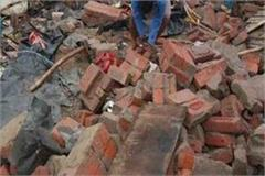 after a few hours  the wall of the religious site dropped in kasganj