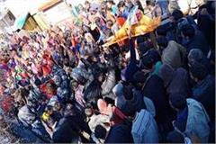 protest increased in jangahihali people extract the funeral procession of cm