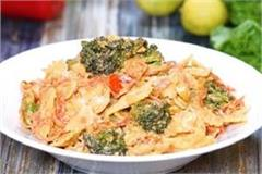 pasta salad with chilli lemon sauce